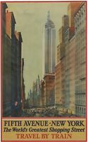 Vintage Travel Poster Fifth Avenue New York The World's Greatest Shopping Street