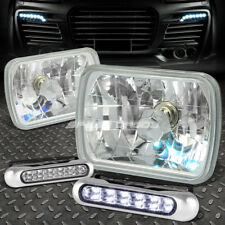 SQUARE CLEAR AUTO HEADLIGHT+12 LED GRILL FOG LIGHT FOR 7X6 H6054 NISSAN 240SX