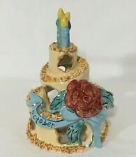 "Blue Sky Ceramics 2011 October Birthday Cake Tealight Candle Heather Goldminc 8"""