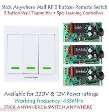 Stick Anywhere Wall Switch 3 Button RF Remote & 3 Learning Controllers 220V 12V