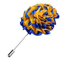 Da Uomo Arancione Blu Risvolto Blazer Pin Fiore Fiore All'Occhiello Matrimonio