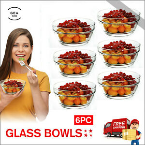 6Pc Glass Bowls Dessert Dishes Ice Cream Sundae Fruit Trifle Salad Bowls Set