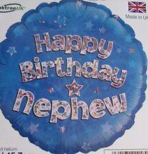 "18""  FOIL BALLOON  HAPPY BIRTHDAY NEPHEW BLUE HOLOGRAPHIC"