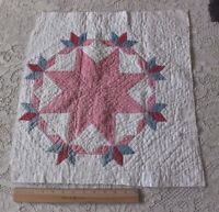 "Antique 19thC American Handmade Double Pink Star Quilted Square~18""LX20""W"