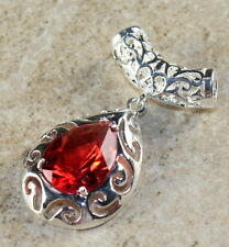 SILVER Elegant Red Topaz Teardrop Pendant