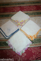 SET OF 4 VINTAGE 1940'S EMBROIDERED HANDKERCHIEFS - EXCELLENT