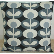 "16"" Cushion Cover Orla Kiely Oval Flower Cool Grey Cream Retro Vintage Handmade"