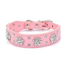 Didog Rhinestone Dog Collar Diamante Leather Pet Puppy Necklace Bling Crystal