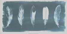 """Feathers on Dusty Teal I by Grace Popp 14x26"""" Reprint"""