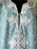 Charter Club size small top tunic 100% linen beachy aqua blue white embroidery