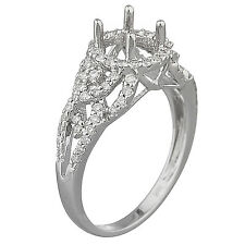 18k White Gold Diamond Engagement Ring Setting Semi Mount  0.50ct  Size 7