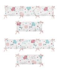 Blue Pink Floral Rose Flowers Girl Baby Nursery Crib Bumper Pad by Sweet Jojo
