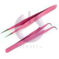 Individual Eyelash Tweezers Curved Straight 2 Pack Pink Extensions Tool Set NEW