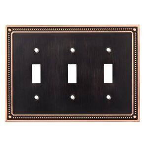 W35066-VBC Bronze & Copper Classic Beaded Triple Switch Cover Plate