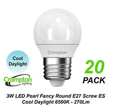 20 x 3W LED Cool Daylight Globes Bulbs Lamps E27 Screw 6500K Round ES Pearl