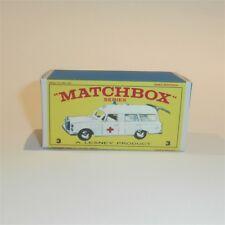 Matchbox Lesney  3 c Mercedes Benz Ambulance empty Repro E style Box