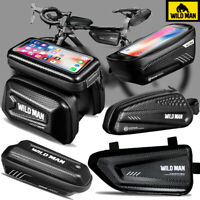WILD MAN Bicycle Front Frame Waterproof Bike Tube Pouch Holder Saddle Pannier
