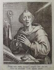 ETCHING ACQUAFORTE BULINO IOAN SADELER S.AGOSTINO VESCOVO  1500 reliqua relic