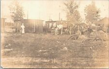 RPPC Tomah WI (?) Farm Scene Loading Delivery Wagons early 1900s