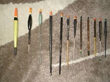 12 QUALITY USED STICK TYPE RIVER  FISHING FLOATS MOSTLY NAMED IE CLEGG  JOB LOT