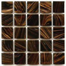 "75 3/4"" Chocolate Gold StreakVitreous Glass Mosaic Tiles Vgs801"
