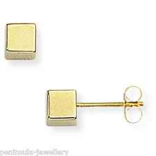 9ct Gold 4mm Cube Stud earrings Gift Boxed