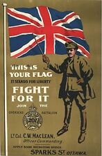 WW1 RECRUITING POSTER 207TH CANADIAN OVERSEAS BATTALION CANADA NEW A4 PRINT