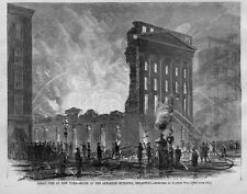 FIRE FIGHTING ON BROADWAY, NEW YORK, APPLETON BUILDING, 1867 ANTIQUE FIRE ENGINE