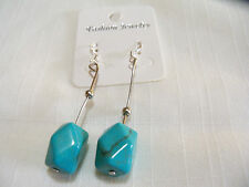 NEW CLASSIC SILVER & TURQUOISE PIERCED EARRINGS DANGLE & GIFT BOX /  NICE
