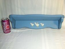 """Wooden Wall Shelf w/3 Stencil Painted Geese Vintage 18"""" Country Blue Home Decor"""