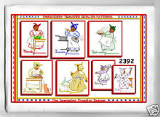 Mammy embroidery Transfer Pattern IRON ON days of the week 2392 VINTAGE