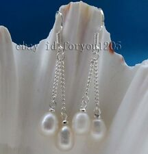 Genuine Natural 7x9mm White drip Pearl Earrings Dangle 925silver #f2309!