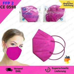25x FFP2 Mundschutz Masken CE0598 5-lagige Filter - Halbmaske Premium - pink