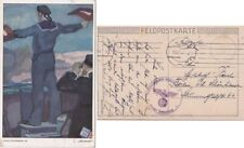 Germany 1942 ppc Sailor {This a WW1 card} used in WW2 Has Wehrnacht cachet
