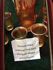Carnival glass Imperial tree bark Marigold Pitcher And Six Glass