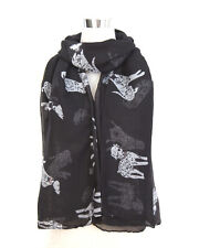 Black Ladies Scarf Dalmatian Dog Print Shawl Sarong Wrap Free Fast Delivery