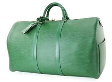 Authentic LOUIS VUITTON Keepall 50 Green Epi Leather Duffel Bag #1125A