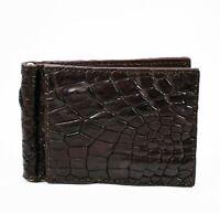 Dark Brown Mens Money Clip Walllet  Real Alligator Crocodile Leather Skin.