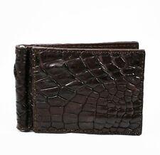 New Dark Brown Crocodile Alligator Leather skin Mens Money clip Wallet.