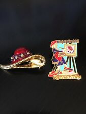 Red Hat Society Pinback and Brooch We're Just Getting Started 2009 Rhinestones