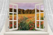window poster into LOVELY FIELD OF WILDFLOWERS colorful poppies 24X36 HOT