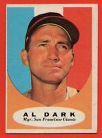 1961 Topps #220 Al Dark EX-EXMINT Manager San Francisco Giants FREE SHIPPING