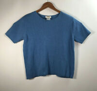 Talbots Women's Size L Short Sleeve Knit Sweater Shirt Blue Top