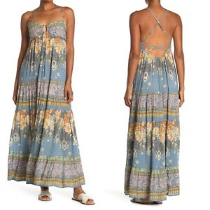 Free People Give A Little Sleeveless Maxi Dress Wave Combo Blue M NWT