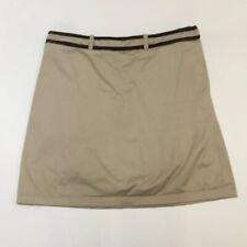 Ralph Lauren Golf Vintage Khaki Skort Brown Leather Trim Shorts Womens 8