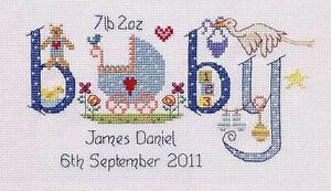 Baby Boy Birth Sampler Cross Stitch Kit