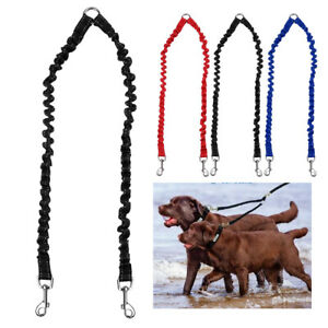 2 Way Bungee Dog Double Lead Coupler/Splitter Leash for Twin Dogs Red Blue Black