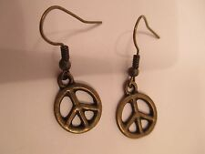 earrings antiqued gold/bronze tone floral peace sign  charm dangle/drop hook