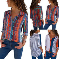 2018 Womens Long Sleeve Striped Casual OL Shirts Ladies Tops Blouse Mode Tee lot