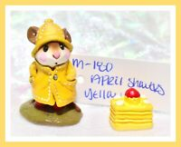 ❤️Wee Forest Folk M-180 April Showers Yellow Rain Coat Hat Mouse Retired WFF❤️